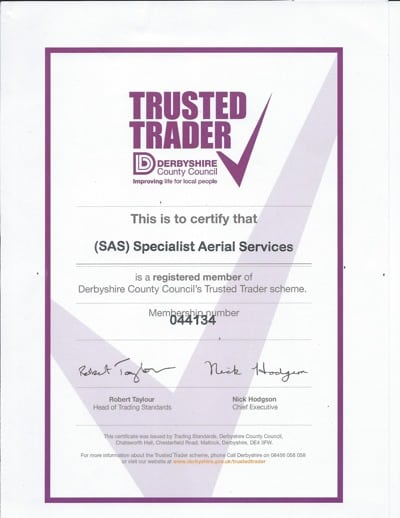 Derbyshire Trusted Trader Certificate