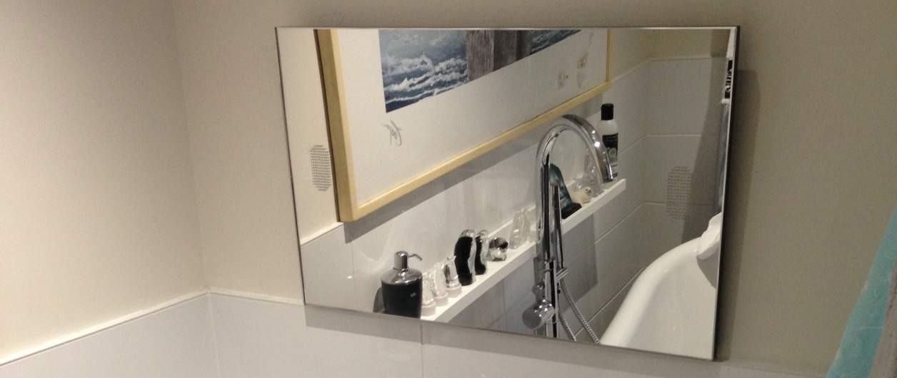 Mirrored TV in bathroom installed by Specialist Aerial Services