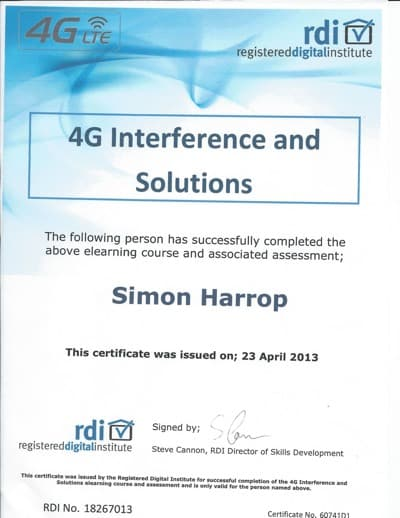 Registered Digital Institute Certificate 4G LTE