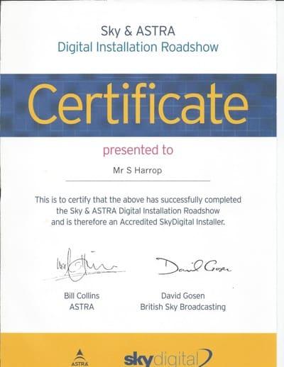 Sky & Astra Digital Installation Certificate